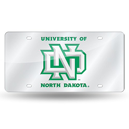 Rico Industries NCAA North Dakota Fighting Hawks Laser Inlaid Metal License Plate Tag, Silver from Rico Industries