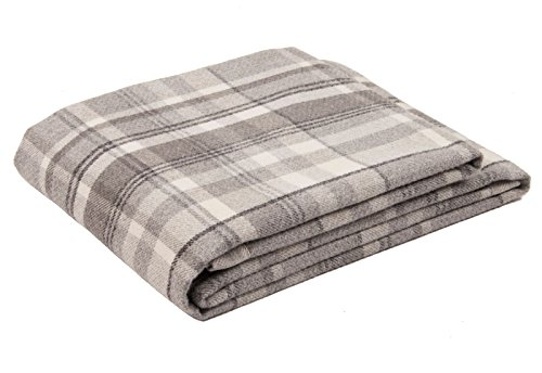 McAlister Heritage | Decorative Queen Bed Throw Blanket | 75x50 Charcoal Gray Black & White | Plush Wool-Textured Flannel Plaid | Tartan Check Farmhouse Cabin Accent Décor ()