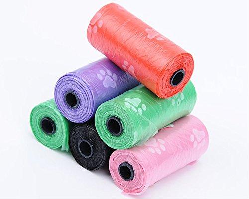 Da.Wa 5 Rolls Pet Waste Bag Printing Handle Dog/Cat Pick Up Tool Clean Up Rubbish Bag Assorted Colors