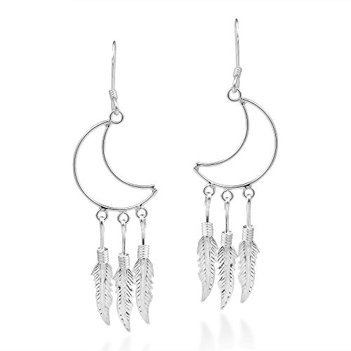 Crescent Moon Outline Chandelier Feathers .925 Sterling Silver Dangle Earrings (Feathers Outline)