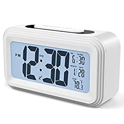 [Upgrade Version] Battery Operated Alarm Clock, GABONE Electronic Large LCD Display Digital Alarm Clocks with Snooze,Backlight,Night Light,Temperature (White)