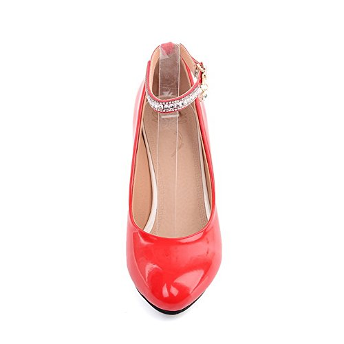 red pumps shoes Baskets Dessus Femme Boucle Cuir balamasa Verni Ow8YB8