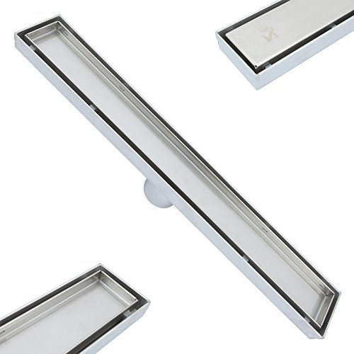 ZOIC 19.68 /23.62/27.56/31.49 /35.43 inches Linear Stealth Tile Insert Floor Grate Bathroom Shower Waste Drain-304 stainless steel (Ceramic Tile Inserts)