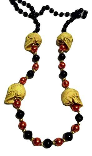 Skull Mardi Gras Beads - Black Orange Skull Pirate Halloween Mardi Gras Beads Party Favor Necklace