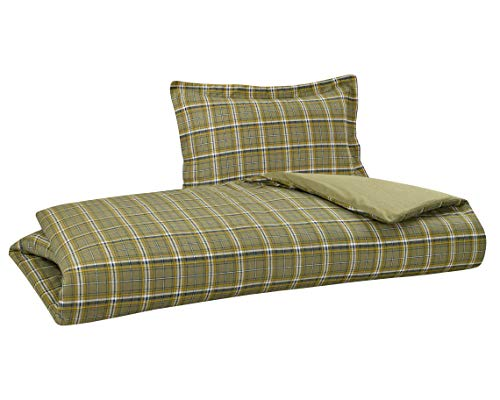 "DELANNA Flannel Reversible Duvet Cover Set 100% Cotton 1 Duvet Cover 68"" x 90"" and 1 Pillow Sham 20"" x 26"" (Twin, SAGE Plaid)"
