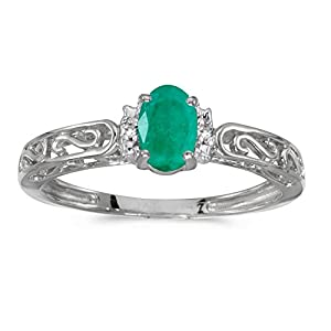 0.31 Carat (ctw) 10k Gold Oval Green Emerald and Diamond Accent Swirl Filigree Engagement Promise Fashion Ring (6 x 4 MM)