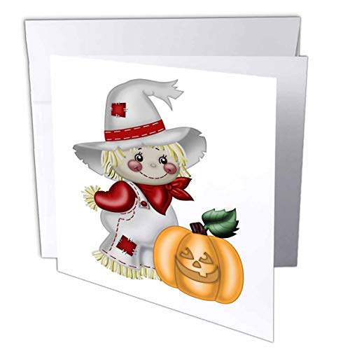 - 3dRose Anne Marie Baugh - Illustrations - Cute Smiling Scarecrow with A Pumpkin Illustration - 6 Greeting Cards with envelopes (gc_317966_1)