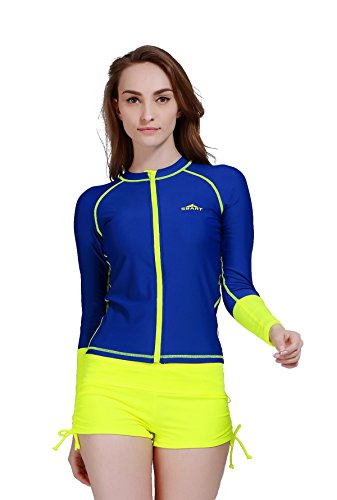 Damen UV-Shirt Rash Guard Surf Shirt Badebekleidung Long Sleeve Watersport