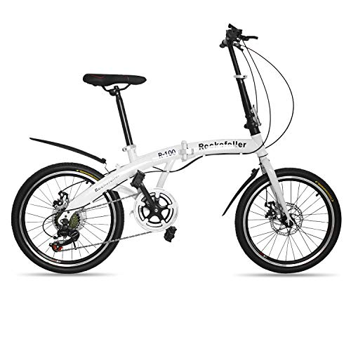 Max4out Folding Compact Bike Carbon Steel Urban Commuter Bicycle 7-Speed 20-inch White (Best Urban Commuter Bike)