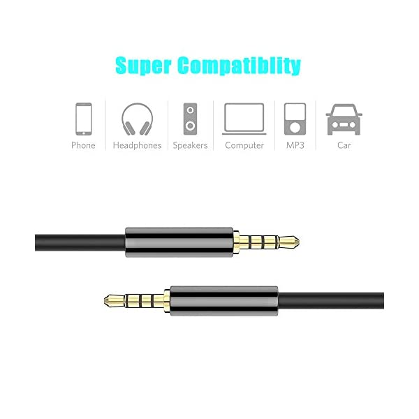 ARCHEER 35mm Male To Male Audio Cable 4 Pole Stereo Aux Cable Auxiliary Cable Aux Cord For Smartphone Tablets Headset Headphones PC Laptop 5ft15m