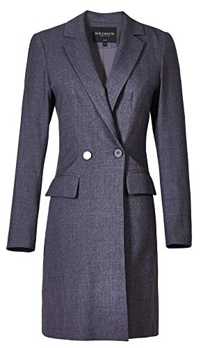 ROEYSHOUSE Women's Classic Double Breasted Solid Color Office Suit Blazer Jacket Gray