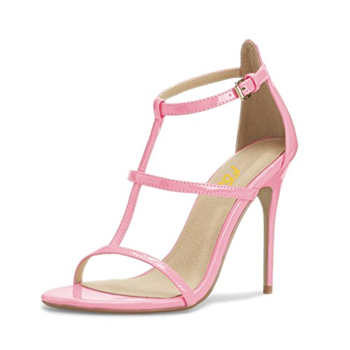 Size FSJ 4 15 Sandals Fashion Shoes Women Ankle Stiletto for Toe Hollow Out Open Heels Pink Straps US qUqfxw