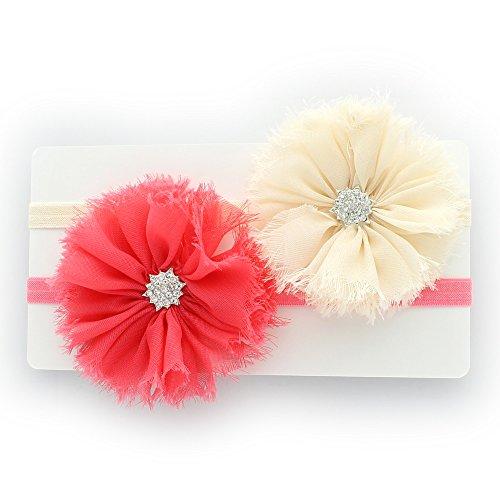 My Lello Baby Flower Headband Shabby Frayed Fabric Ballerina Rhinestones Pair (Ivory/Coral)