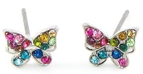 Adorable X-Small / Mini Rainbow Multi-color Crystal Embellished Butterfly Stud Earrings - Silver Tone