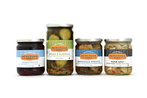 Sweet and Savory Pickles Gift Pack (4-pack) - variety of bread & butter style pickles, semi-sweet pickled Brussels Sprouts, pickled beets and pickled fennel