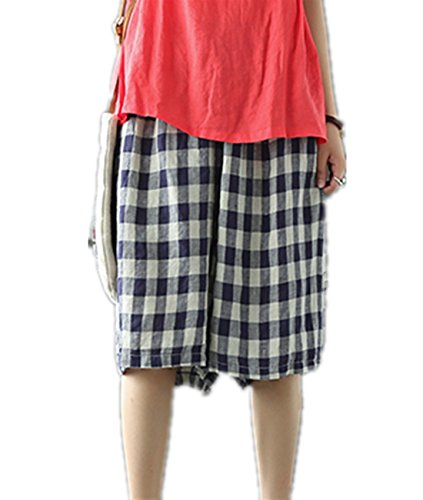 YESNO PD7 Cropped Knee Pants Wide Leg 100% Linen Plaid Pants Elastic Waist With Drawstring Low Crotch