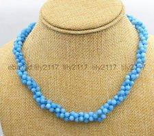 Blue Aquamarine Brazil (AA new 3 shares 4mm blue Brazil Aquamarine gemstone facet bead necklace 18