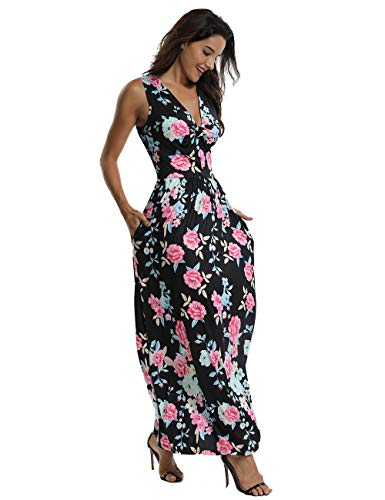 3f3f817bb96c CROSS1946 Women s Sleeveless Floral Print Maxi Dress Tank Top V Neck Summer  Casual Long Dresses with Pockets at Amazon Women s Clothing store