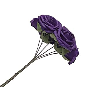 J-Rijzen Jing-Rise Artificial Flowers 30pcs Real Looking Dark Purple Fake Roses with Stem for Wedding Bouquet Bridal Shower Birthday Party Home Decorations (Purple) 2