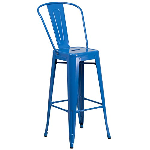 Bay Born Decor BBD 30'' High Blue Metal Indoor-Outdoor Barstool with Back