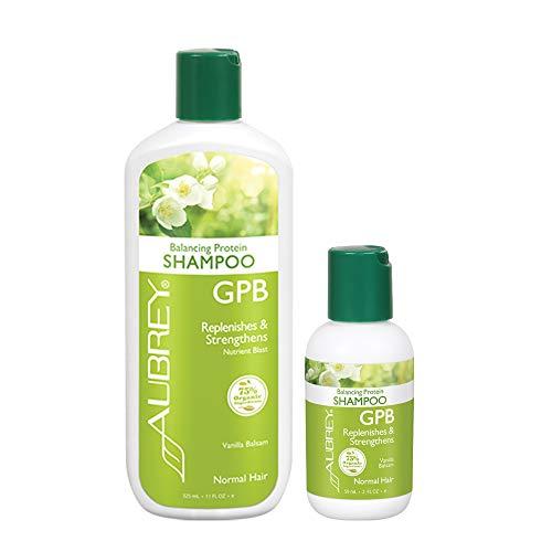 Aubrey GPB Balancing Protein Shampoo Bundle | Strengthen & Nourish Hair at Home & on the Go | Vanilla Balsam, 11oz & 2oz (Gpb Glycogen Protein Balancing Shampoo)