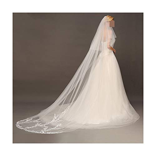 Face Covered - 3M Two Layer Lace Edge White Ivory Cathedral Wedding Veil Long Face Covered Bridal Veil With Comb,White,300Cm
