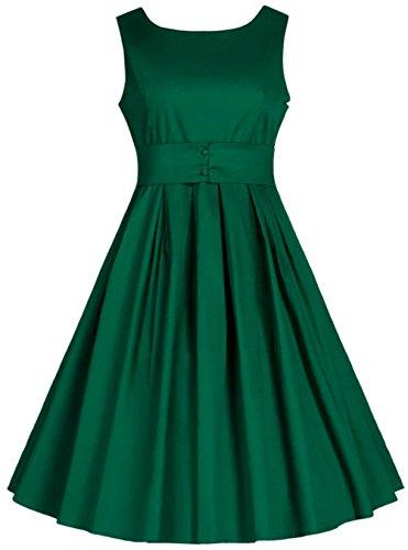 Wenseny Mujer Vestido Clasico Vintage Sin Mangas Cóctel Swing Vestido de Noche Verde
