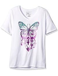 Women's Plus Size Printed Short-Sleeve V-Neck T-Shirt