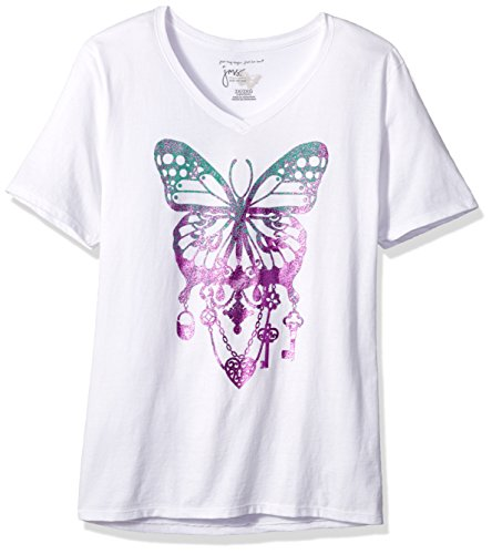Just My Size Women's Size Plus Printed Short-Sleeve V-Neck T-Shirt, Bedecked Butterfly/White, 2X