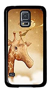 Case Shell for Samsung Galaxy S5 Covered with Picking Star on Giraffe,Customized Black Hard Plastic Cover Skin for Samsung Galaxy S5 I9600,Cute iPhone 4 4S Case