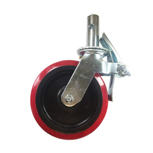 Scaffold Caster 8'' x 2'' Red PU Wheel Locking Brake 1-3/8'' Stem 3800 lbs 4 pcs by Hy-weld (Image #4)