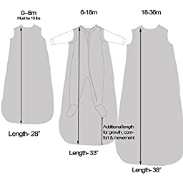 Wee Urban Cozy Basics 4 Season Baby Sleeping Bag, Grey Elephant, Large 18-36m