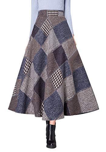Daxvens Women Long Plaid Skirt with Pockets, Wool Blend High Waist A Line Midi Tartan Flare Swing Skirts