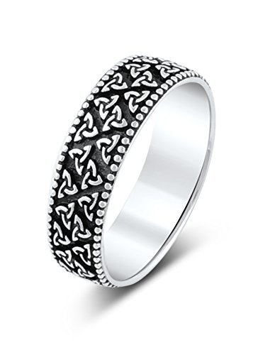 Sterling Silver Trinity Knot Celtic Beaded Edge Eternity Wedding Band Ring ()