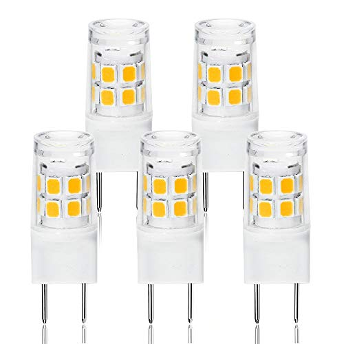 LED G8 Light Bulb, G8 GY8.6 Bi-pin Base LED, Not Dimmable T4 G8 Base Bi-pin Xenon JCD Type LED 120V 50W Halogen Replacement Bulb for Under Counter Kitchen Lighting(5-Pack) (G8 ()