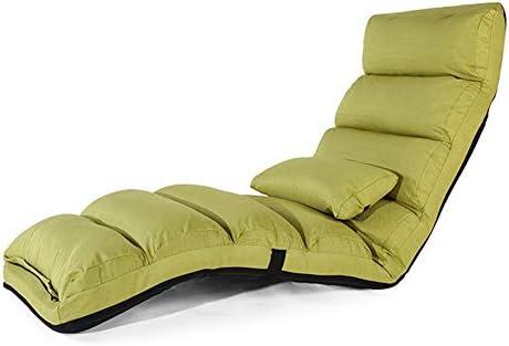 ビーズクッション 背もたれ椅子家庭用張り出し窓議長リネンL175×W54cmベッド怠惰なソファシングル折り畳み式フロアソファベッド BRFDC (Color : Green)