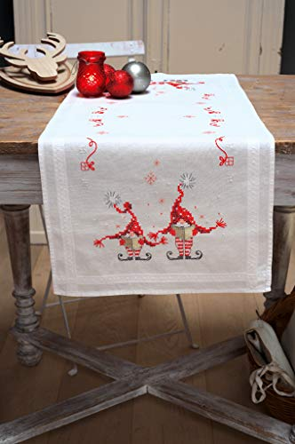 Vervaco Christmas Gnomes Table Runner Stamped Cross-Stitch Kit (Stitch Cross Gnomes Christmas)