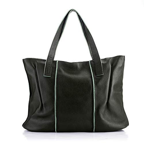 Women's Fashion Genuine Leather Tote Bag Casual Large Top Handle Satchel Handbags Purses (DARK GREEN)