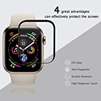 AVIDET Screen Protector for Apple Watch Series 4 44mm, 9H Hardness 0.3mm Ultra Slim 3D Full Coverage Premium Tempered Glass Screen Protector for Apple Watch Series 4 44mm(Black) by AIWEIERDI