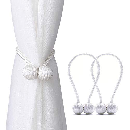 DEZENE Magnetic Curtain Tiebacks,The Most Convenient Drape Tie Backs,2 Pack Decorative Rope Holdback Holder for Small, Thin or Sheer Window Drapries,12 Inch Long,White (Tassel Tie Back Decorative)