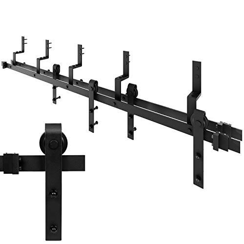 EaseLife 6 FT Bypass Sliding Barn Double Door Hardware Track Set,Modern Interior Barn Door Hardware Double Track Closet Set(6FT Bypass Kit)