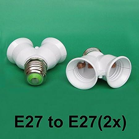 E27 to 2x E27; Screw Light Bulb Lamp ES Socket 2 into 1 Fitting Adaptor Splitter
