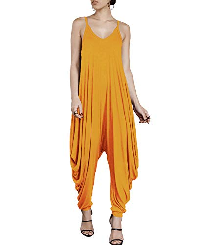 - Dreamskull Women's Punk Spaghetti Strap Jumpsuit V Neckline Comfy Loose Harem One Piece Romper (S, Yellow)