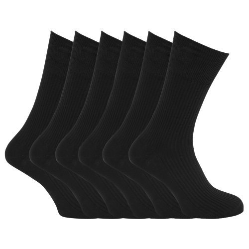 Specialist item: Mens Ribbed Non Elastic Top 100% Cotton Socks (Pack of 6) (US Shoe 6.5 - 11.5) (Black)