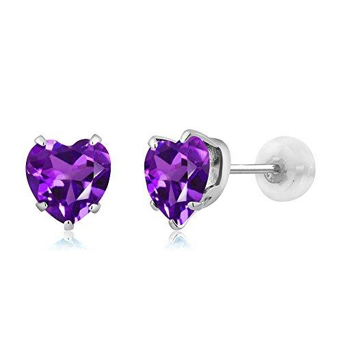 1.30 Ct Heart Shape 6mm Purple Amethyst 10K White Gold Stud Earrings (Earrings Gold White Amethyst)