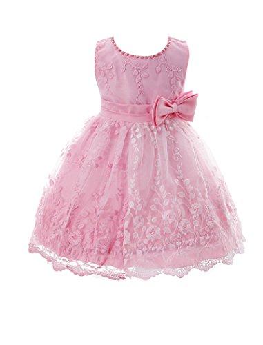ZAMME Vestidos formales del partido del baile del bautismo del bautizo de la niña Bautismo Rosa