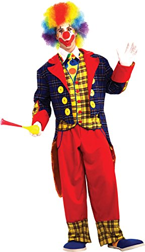 UHC Men's Checkers The Clown Circus Carnival Theme Adult Halloween Costume, OS - Plus Size Checkers Costumes