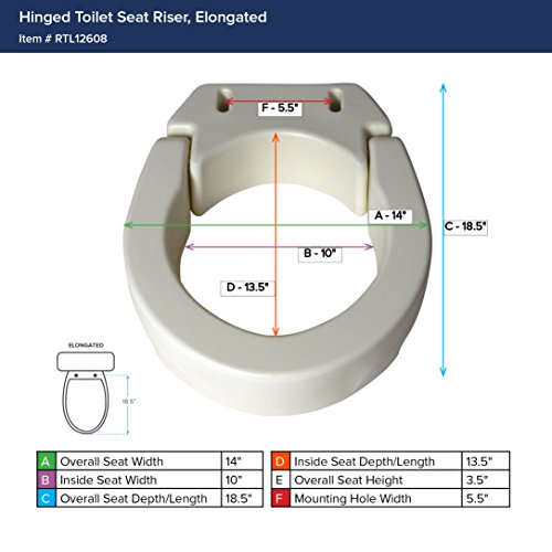 Drive Medical Hinged Toilet Seat Riser Elongated Seat