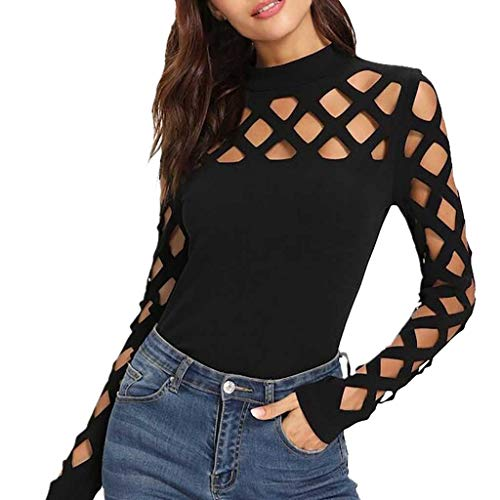 - Keliay Bargain Sexy Women's Long Sleeve O-Neck Square Cutout Shoulder Fitted Tee Blouse Tops