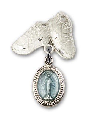 Sterling Silver Baby Badge with Blue Miraculous Charm and Baby Boots Pin